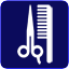Icon of scissors and comb